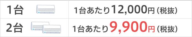 1台12,000円、2台9,900円