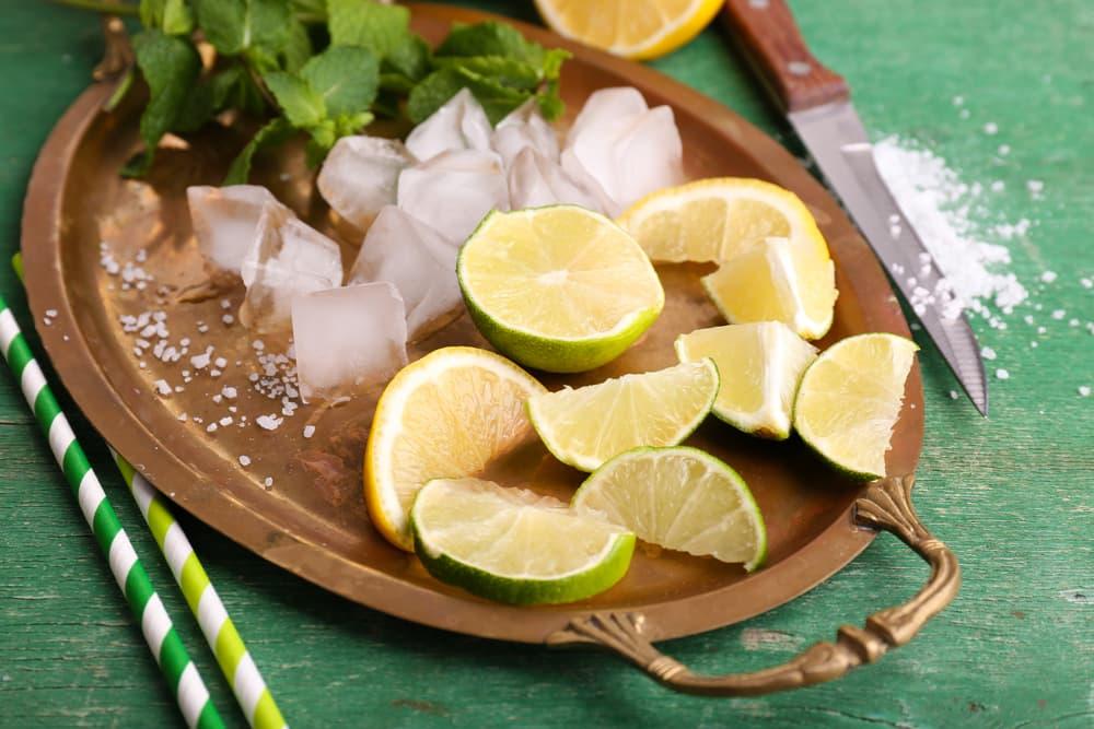 トレイの上にレモンや氷や塩が載っている