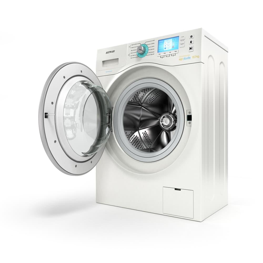 綺麗で清潔感のある洗濯機の扉が開いている
