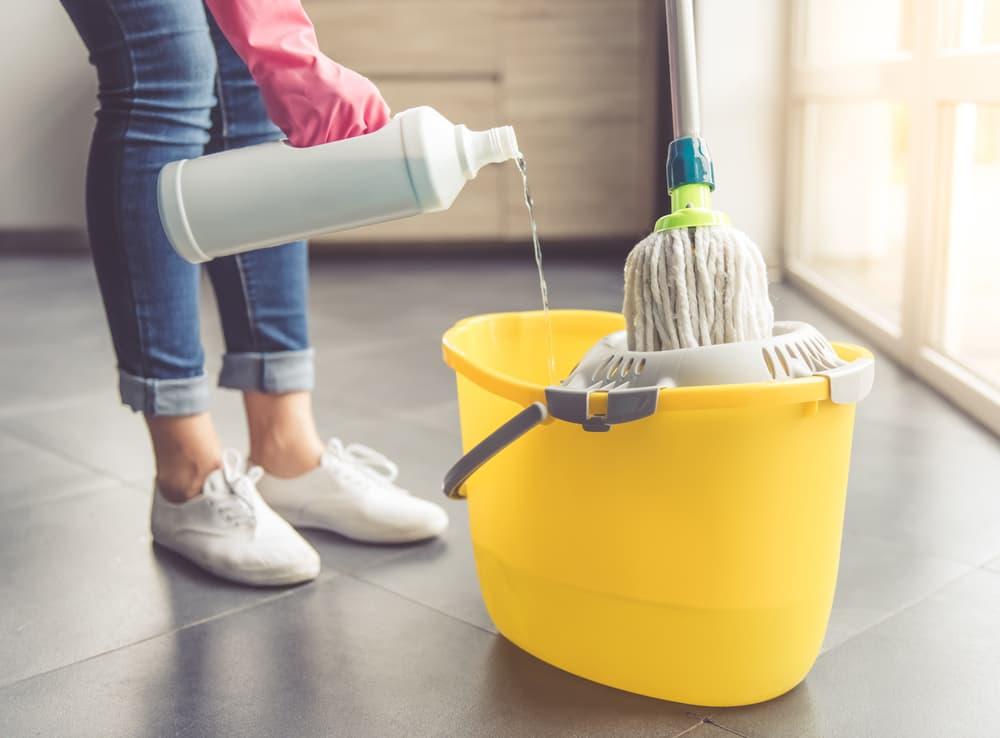 床掃除しようとしている