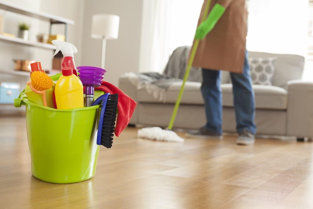 掃除用品と掃除をしている人