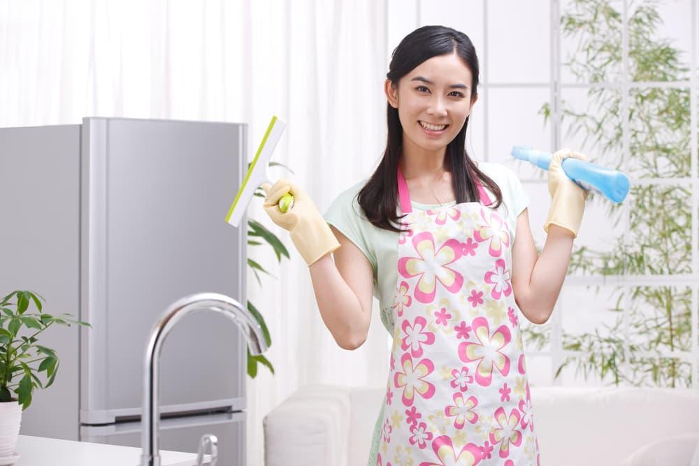 女性が掃除アイテムを持っている