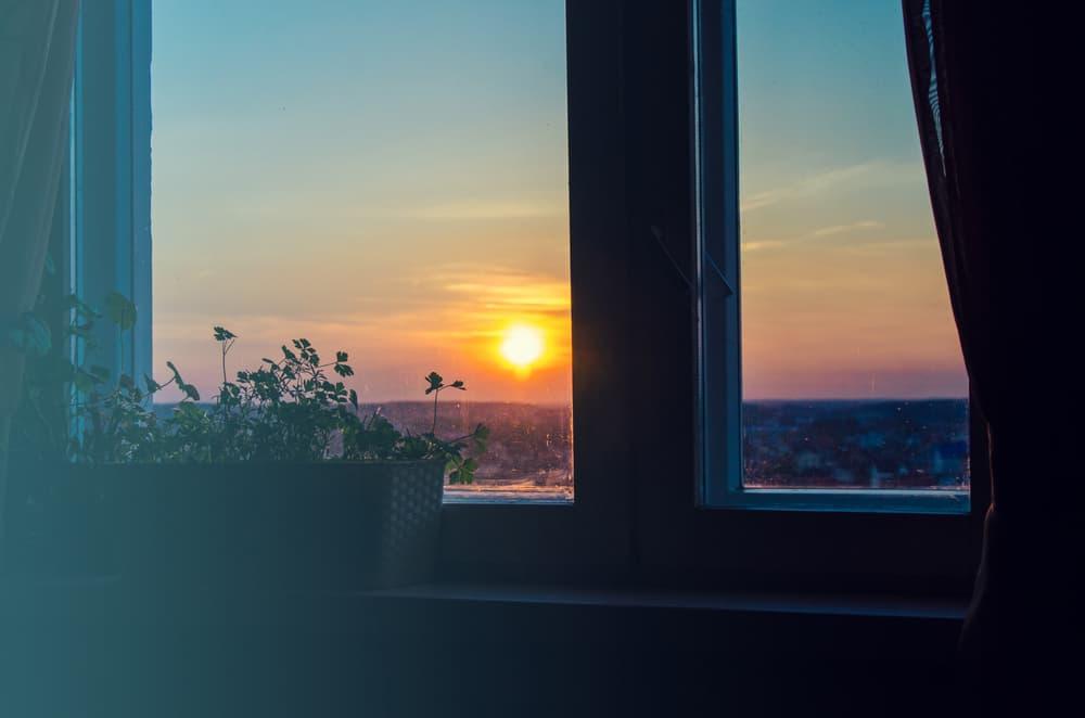 窓から朝日が差し込む