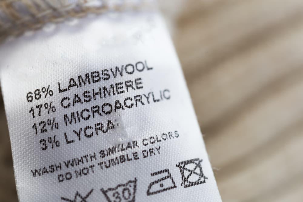 洗濯の温度や素材などが表示されている絵表示タグ