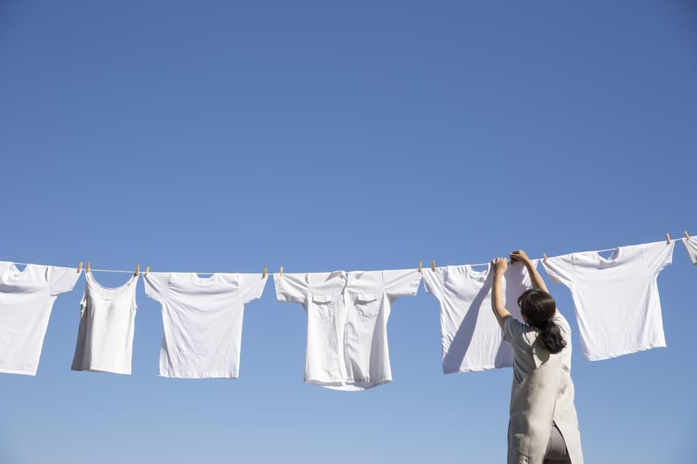 真っ白な洗濯物を干している