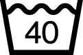 洗濯表示 液温は、40°Cを限度とし、洗濯機で通常の洗濯処理ができる