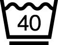 洗濯表示 液温は、40°Cを限度とし、洗濯機で弱い洗濯処理ができる